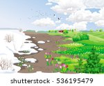 spring rural landscape with... | Shutterstock .eps vector #536195479