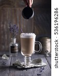 lavender latte macchiato with... | Shutterstock . vector #536196286