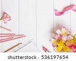 flowers  paper straws  pink... | Shutterstock . vector #536197654