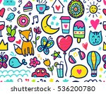 doodles cute seamless pattern.... | Shutterstock .eps vector #536200780