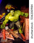 Small photo of AMSTERDAM, NETHERLANDS - OCT 26, 2016: Hulk, Bruce Benner, Marvel section, Madame Tussauds wax museum in Amsterdam. One of the popular touristic attractions