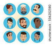 mix race people faces icon set... | Shutterstock .eps vector #536202580