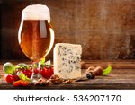 Glass Of Beer And Blue Cheese...