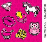pop art fashion chic patches ... | Shutterstock .eps vector #536208598