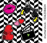 pop art fashion chic patches ... | Shutterstock .eps vector #536208604