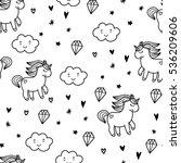 doodles cute seamless pattern.... | Shutterstock .eps vector #536209606