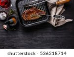 grilled steak striploin on pan... | Shutterstock . vector #536218714