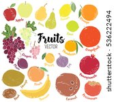 set of colorful vector fruits | Shutterstock .eps vector #536222494