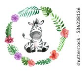 Stock photo cute baby zebra animal for kindergarten nursery children clothing pattern 536238136
