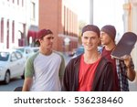 positive teenage friends with... | Shutterstock . vector #536238460