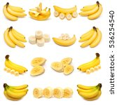 collection of bananas isolated... | Shutterstock . vector #536254540