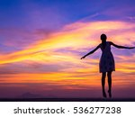 successful woman jumping ... | Shutterstock . vector #536277238