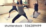 yoga practice exercise class... | Shutterstock . vector #536289499