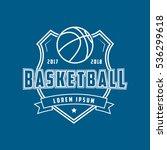 basketball emblem line icon on...   Shutterstock .eps vector #536299618