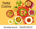 salad dishes top view icon with ... | Shutterstock .eps vector #536315014