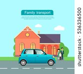 family transport banner. couple ... | Shutterstock .eps vector #536336500