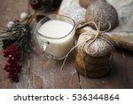 christmas cookies with milk | Shutterstock . vector #536344864