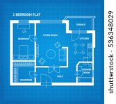 apartment floor plan blueprint... | Shutterstock .eps vector #536348029