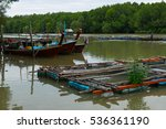 boat and fish cages thailand. | Shutterstock . vector #536361190