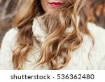 Woman With Red Lips And Curly...