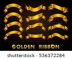 ribbon banner set.golden... | Shutterstock .eps vector #536372284