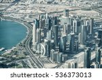 Stock photo doha qatar stunning aerial view 536373013