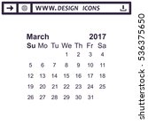march 2017 calendar icon vector ... | Shutterstock .eps vector #536375650