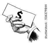 hand with banknote | Shutterstock . vector #536379844