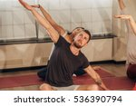 group of people making yoga...   Shutterstock . vector #536390794