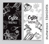 coffee card on the black and... | Shutterstock .eps vector #536410456