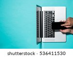 top view with laptop and male... | Shutterstock . vector #536411530