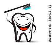 tooth holding toothbrush...   Shutterstock .eps vector #536418418