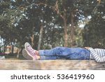 Feet Of Young Girl Sleep In Th...