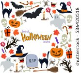 background of halloween icons... | Shutterstock . vector #536420518