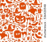seamless pattern of halloween... | Shutterstock . vector #536420548