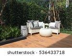 outdoor furniture set in garden | Shutterstock . vector #536433718