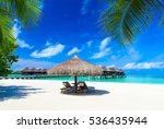 tropical beach in maldives... | Shutterstock . vector #536435944