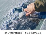 scraping ice off the windshield ... | Shutterstock . vector #536439136