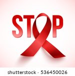 realistic red ribbon  world... | Shutterstock . vector #536450026