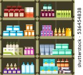 pharmacy shelves with pills and ... | Shutterstock . vector #536454838