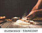 men hands sprinkle a dough with ... | Shutterstock . vector #536461069