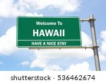 green overhead road sign with a ... | Shutterstock . vector #536462674