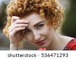 beautiful red haired girl... | Shutterstock . vector #536471293