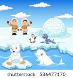 little eskimo kids with arctic... | Shutterstock .eps vector #536477170