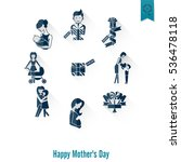 happy mothers day simple flat... | Shutterstock .eps vector #536478118