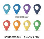 markers map rainbow colors set... | Shutterstock .eps vector #536491789