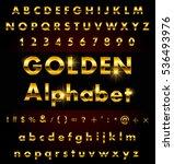 vector golden alphabet.gold... | Shutterstock .eps vector #536493976