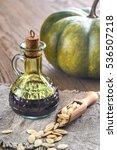 bottle with pumpkin oil on the... | Shutterstock . vector #536507218