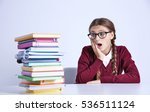 teenage girl with pile of books ... | Shutterstock . vector #536511124