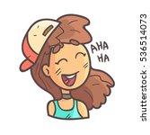 laughing girl in cap  choker... | Shutterstock .eps vector #536514073